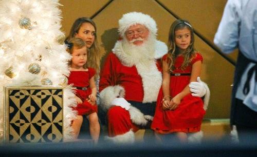Jessica Alba and children photo with Santa Claus
