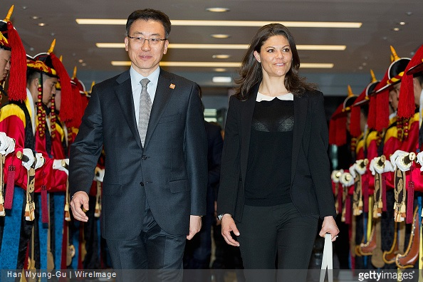 Princess Victoria is seen upon arrival at Incheon International Airport in Incheon, South Korea