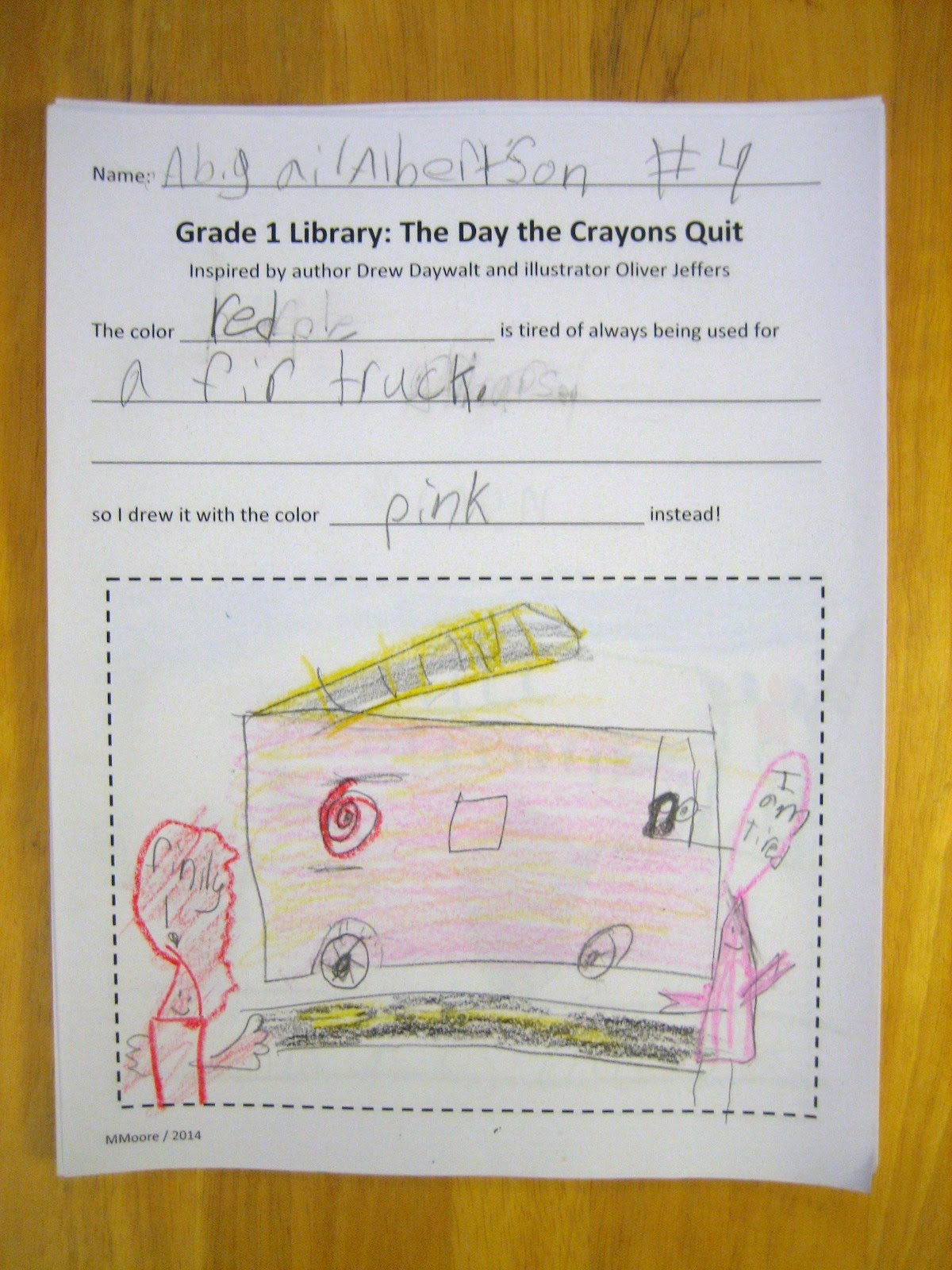 Garden City Library Goings On March 2014 Fire Engine Diagram In Color First Graders Came Up With Their Own Solutions To The Crayons Dissatisfaction Lots And Of Trucks Room 4