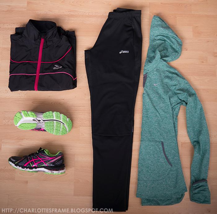 nike hoodie, asics runing pants, asic gel kayano 19 purple, rogelli rain jacket