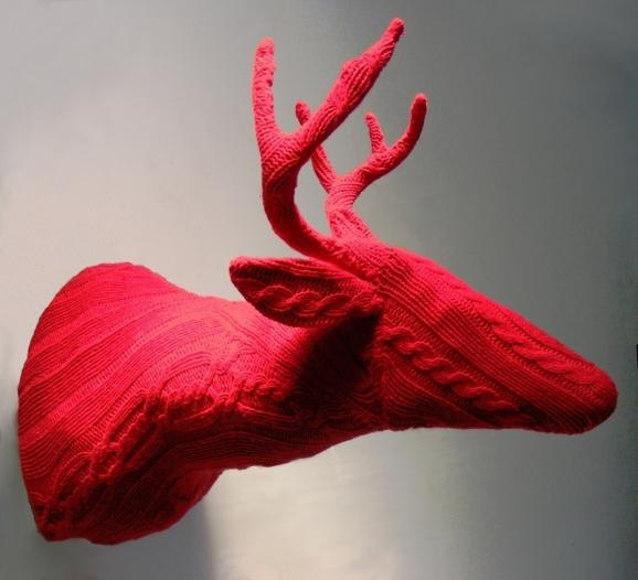 knit deer mounted on wall
