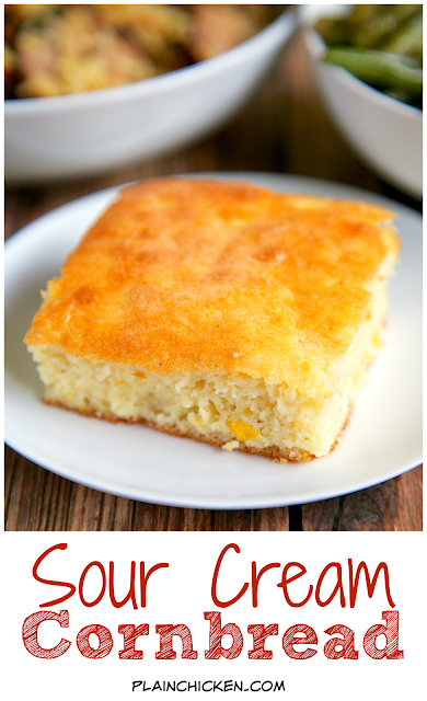 Sour Cream Cornbread Recipe - only 5 ingredients! Ready in 30 minutes ...