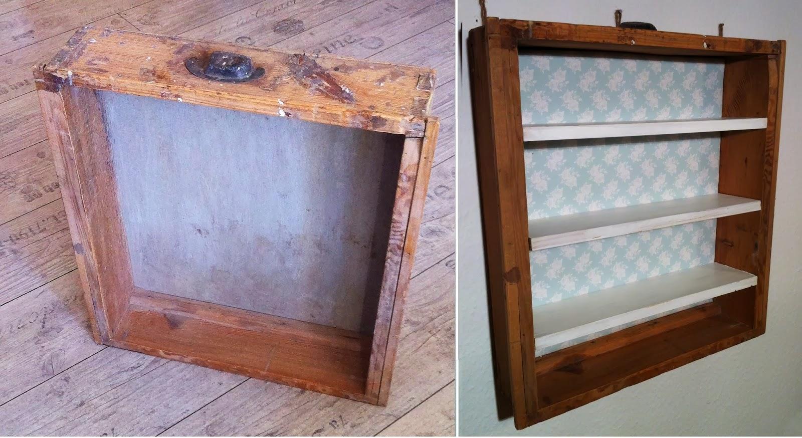 der kleine kunstladen regal aus alter schublade. Black Bedroom Furniture Sets. Home Design Ideas
