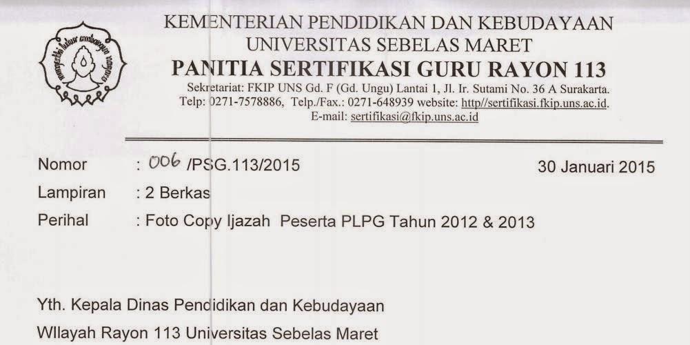 Permintaan Fotocopy Ijasah Peserta PLPG 2012 dan 2014
