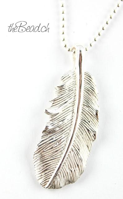 Schmuck Feder mit grosser Oese aus 925  Sterling Silber