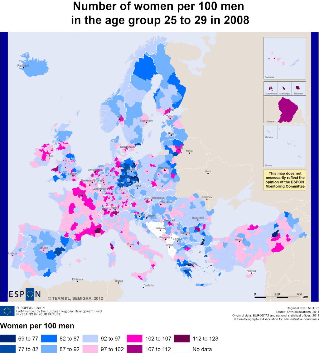 Number of women per 100 men in the age group 25 to 29