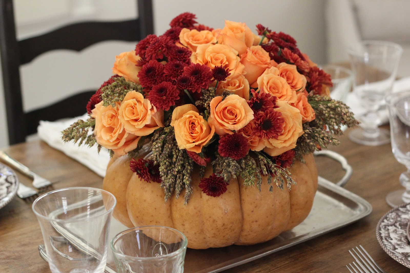 Jenny Steffens Hobick Thanksgiving Table Setting DIY Flower Pumpkin
