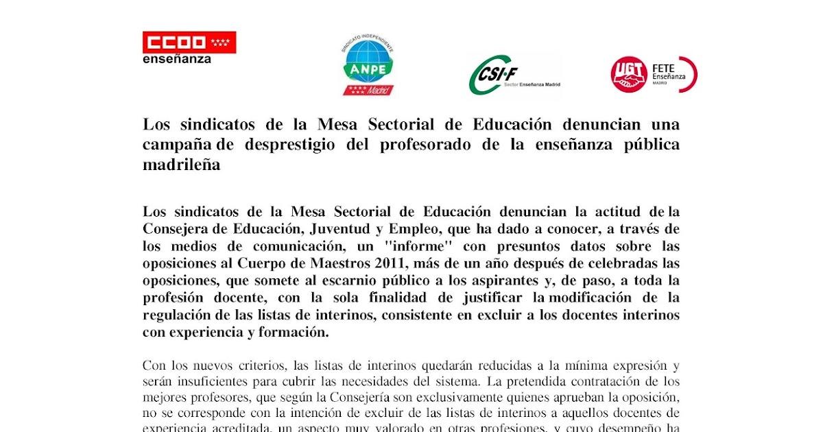 MareaVerde: Los sindicatos de la Mesa Sectorial de Educación ...