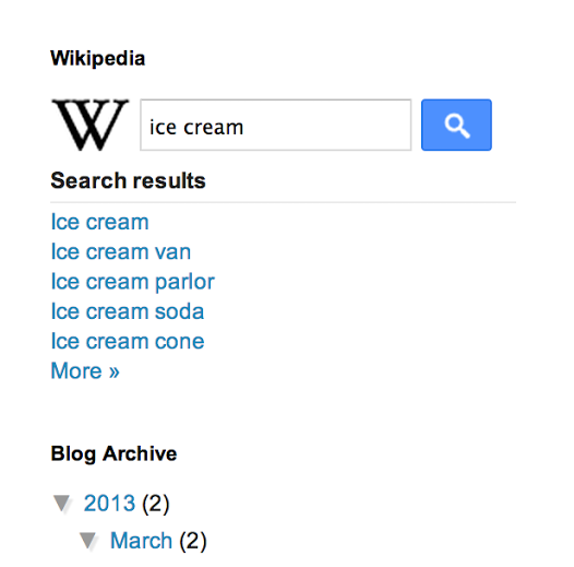 Demo of wikipedia search box in blogger