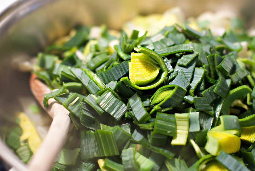 close up of sliced green leeks in a pan