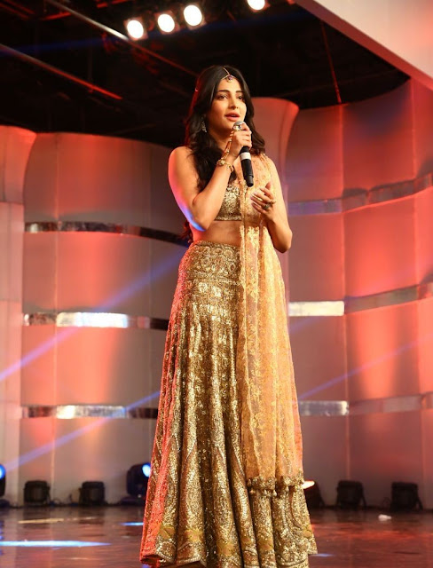 Shruti Haasan in Lehenga at Puli Audio Launch