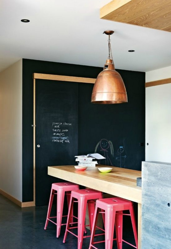 copper lamp, chalkboard wall, pink stools