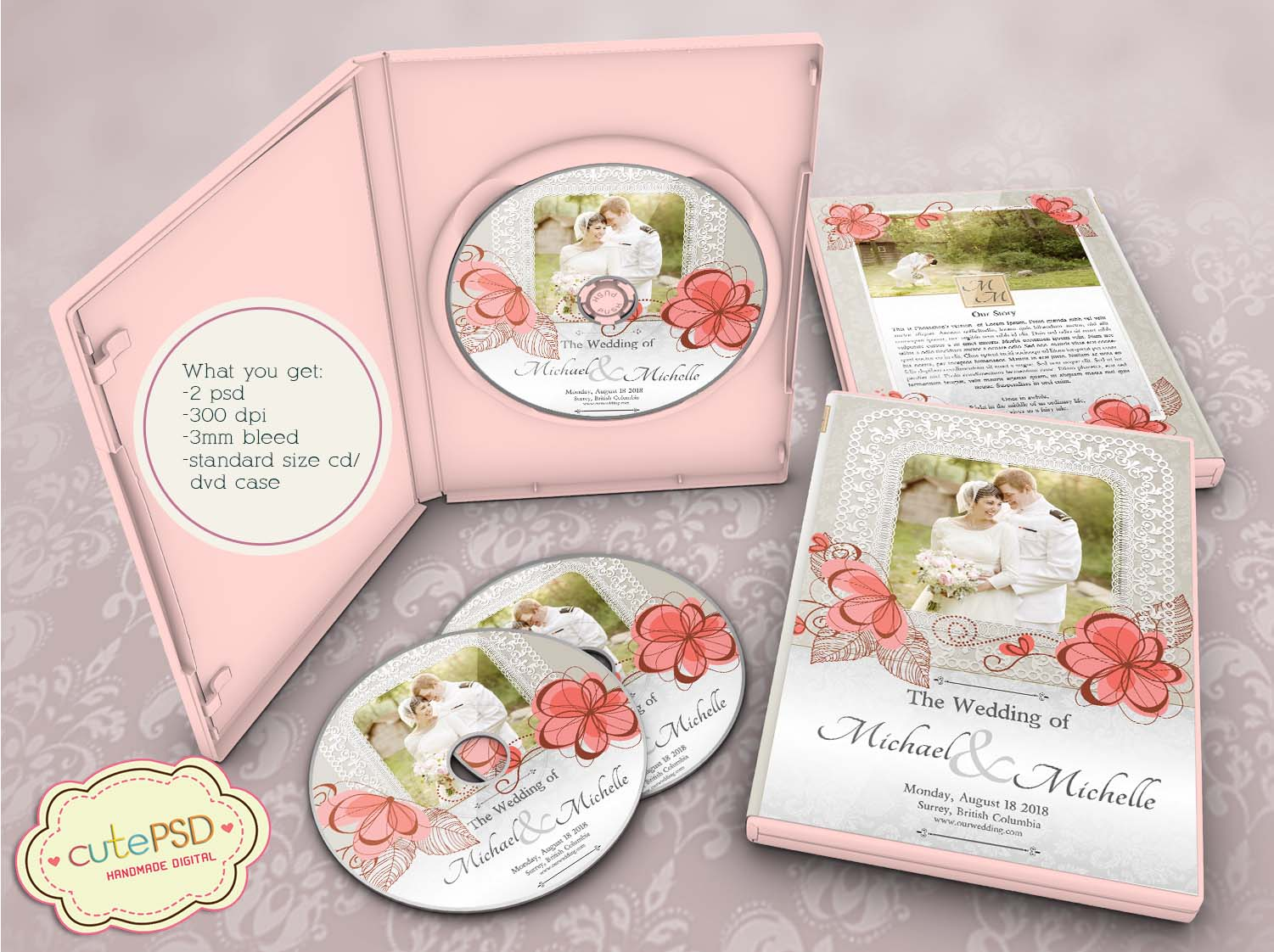 Wedding dvd case floral photoshop templates cpz086 cute psd wedding dvd case floral photoshop templates cpz086 pronofoot35fo Gallery