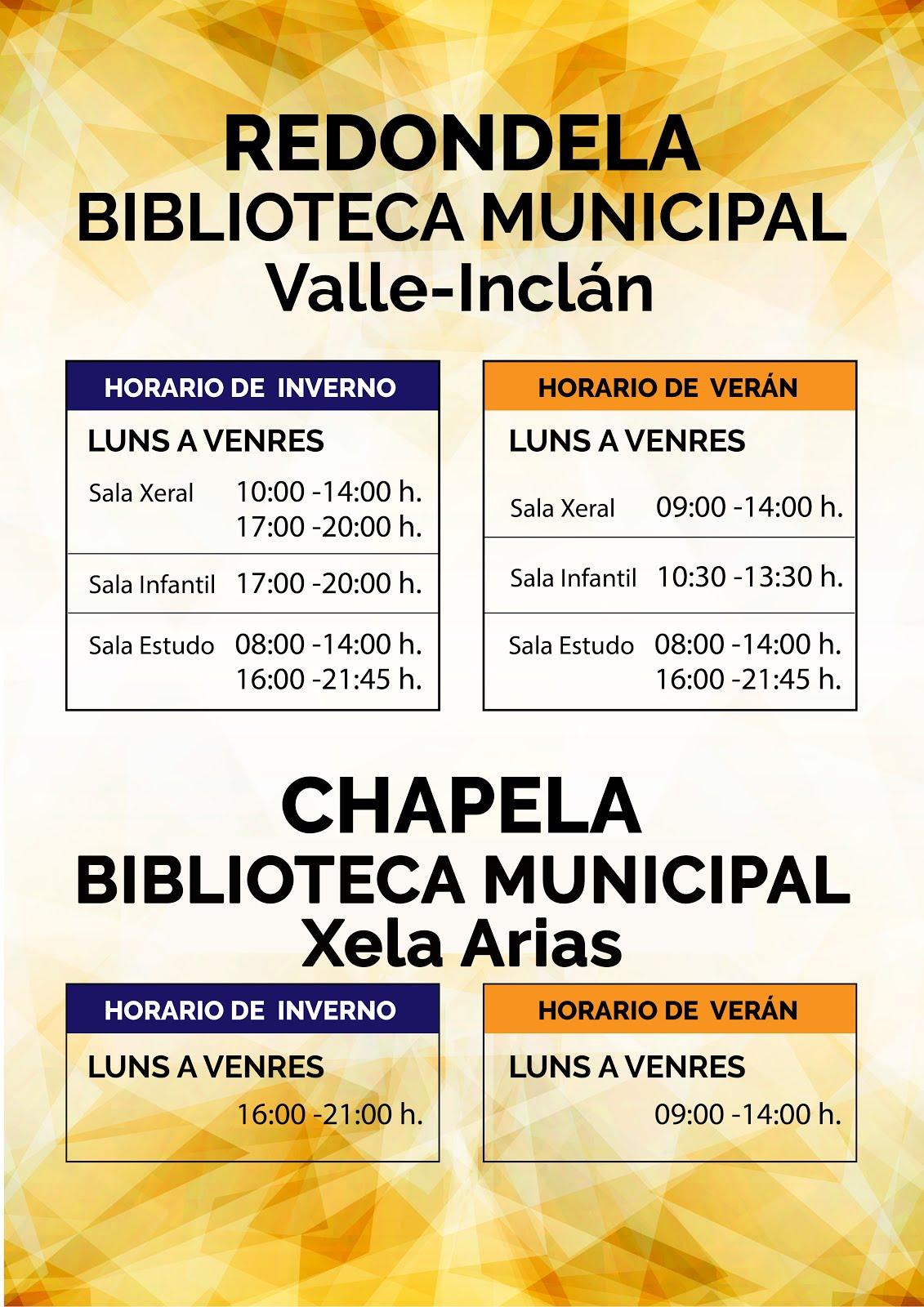 Horarios das bibliotecas municipais