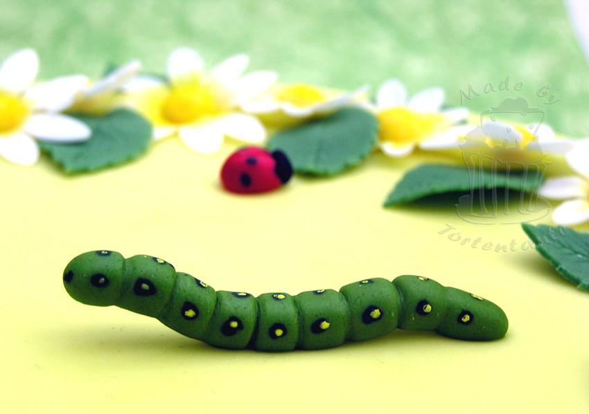 Blumenverzierung und Raupe auf Motivtorte, Caterpillar cake fondant