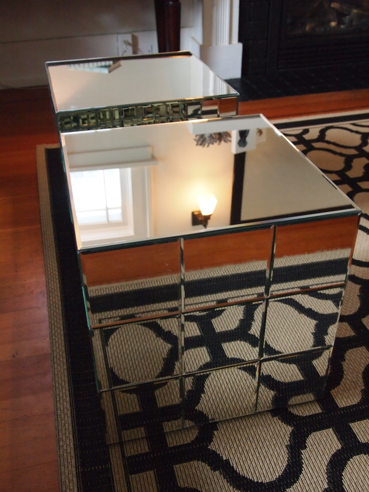 Mirror Table, Mirrored Cubed Table