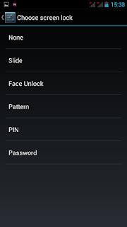 pilihan lock screen yang dapat di pilih