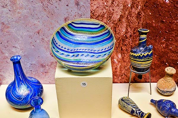 Antalya Archaeological Museum: Gorgeous Blue Bowl and Flasks