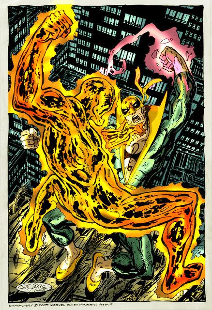 Dibujo de Puño de Hierro luchando por John Byrne