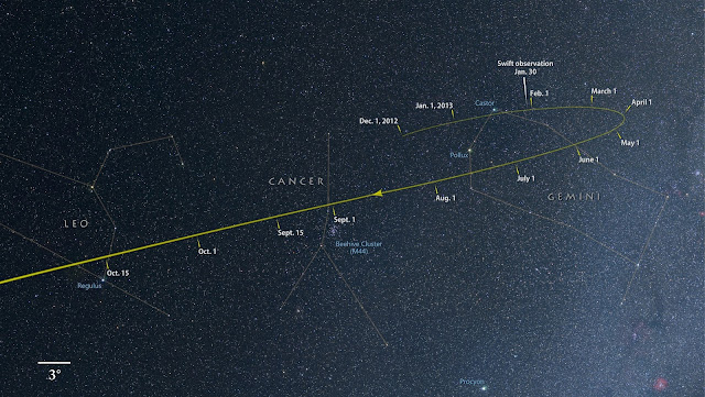From now through Oct., comet ISON tracks through the constellations Gemini, Cancer and Leo as it falls toward the sun. Credit: NASA's Goddard Space Flight Center/Axel Mellinger