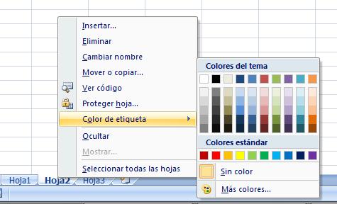 Color de etiqueta en Excel