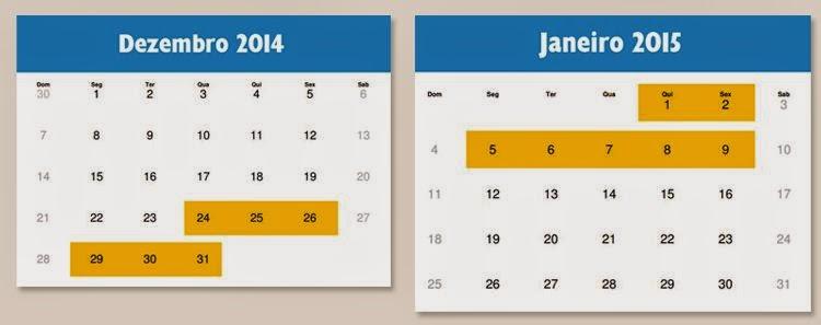 Calendário com destaque para os dias em que o rodízio estará suspenso
