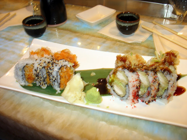 Chicken Tempura sushi roll and Sweet Potato sushi roll