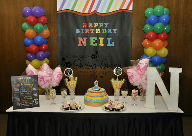 The Cake Table And Background Banner I Was Inspired By This Rainbow Party Decor Idea For Overall Look Of Made With 4 Black