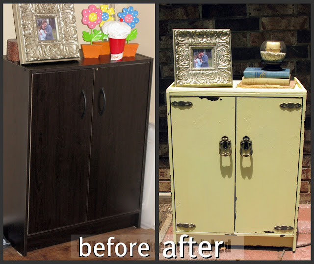 Tattered and inked painting my cheap laminate cabinet for Inexpensive kitchen cabinet makeovers