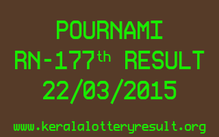 POURNAMI RN 177 Lottery Result 22-3-2015