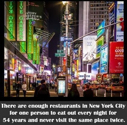 There are enough restaurants in New York City for one person to eat out every night for 54 years and never visit the same place twice.