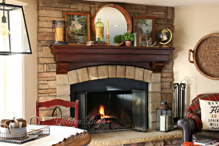 Rustic fireplace with mantel decor ideas - www.goldenboysandme.com