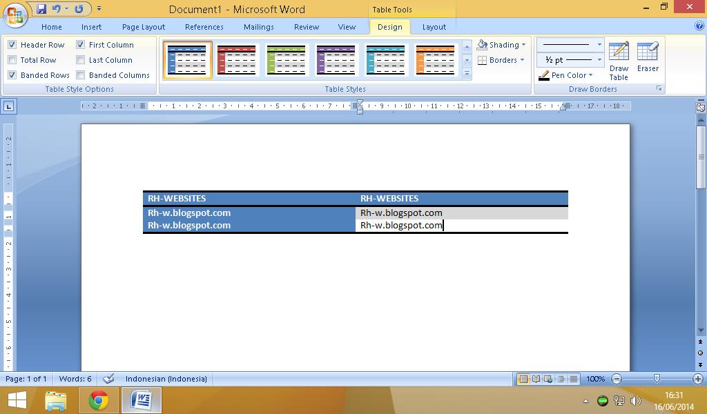 Cara Membuat Tabel Pada Blog Dengan Microsoft Office Word