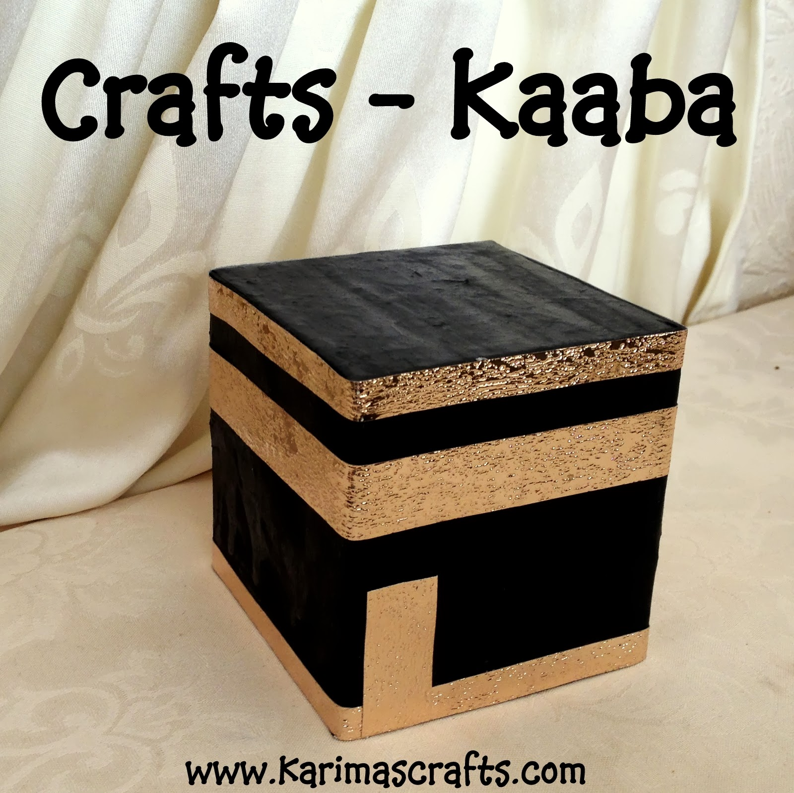 Karima 39 s crafts paper mache kaaba 30 days of ramadan crafts for Eid decorations to make at home