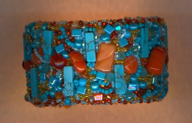 turquoise and orange cuff
