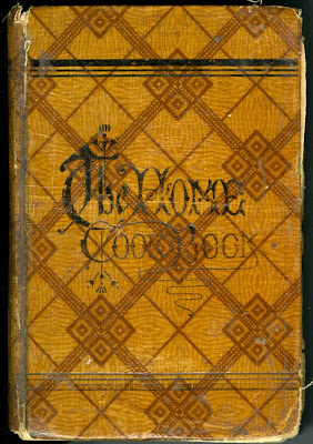 "A brown book with a geometric, diamond pattern across the front. In elaborate script, the words ""The Home Cookbook"" are written. The spine is worn."