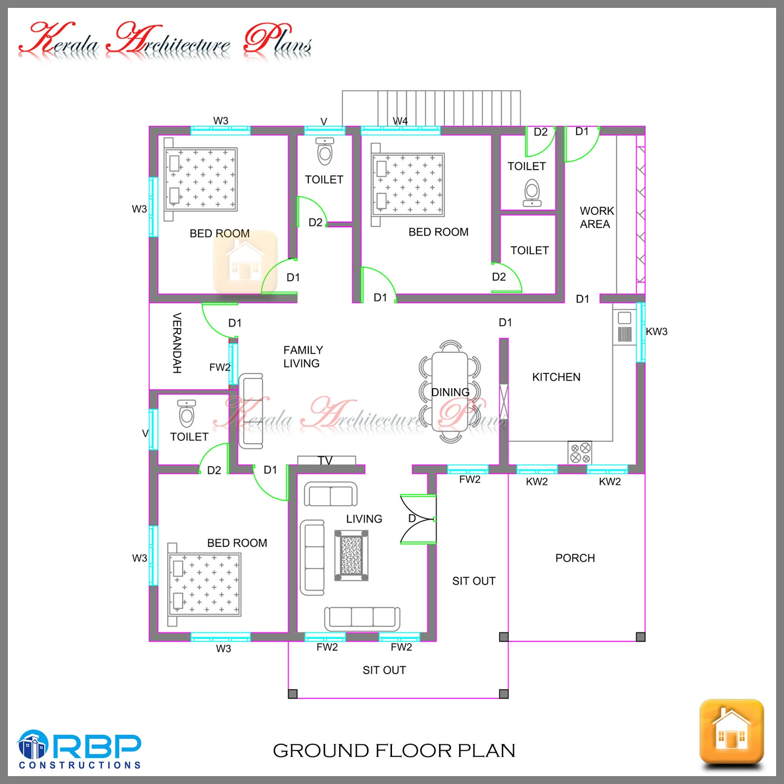 Kerala style single storied house plan and its elevation for Kerala style 2 bedroom house plans