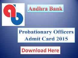 Andhra Bank PO Admit Card 2015 Download