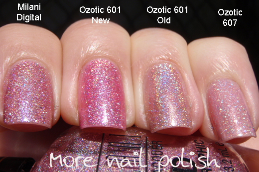 Pink holo comparisons milani 3d vs ozotic more nail polish the photos are labeled so you can see the differences yourself solutioingenieria Gallery