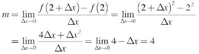 gradien garis singgung pada kurva f(x) = x2 di titik dengan absis 2