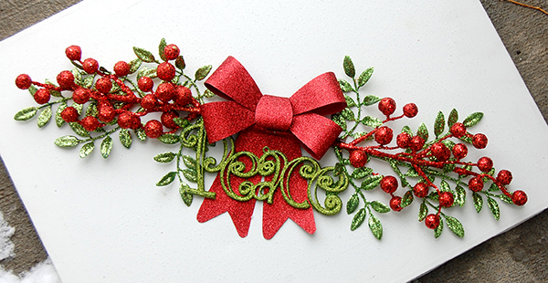 red and green picks, green peace ornament, red glitter ribbon