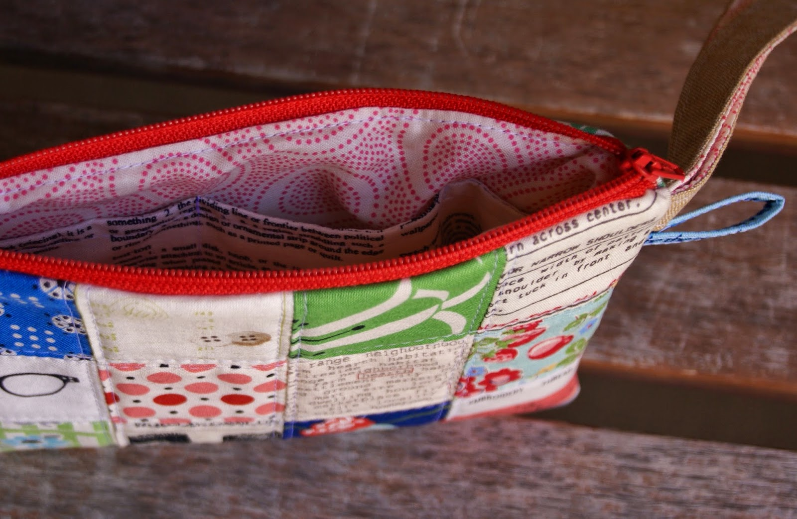 Patchwork Wristlet at Fabric Mutt for Graph Paper Quilt Along from Pink Penguin Tutorial