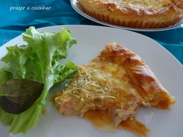 prazer a cozinhar - Tarte de frango, curgete, cenoura e requeijão