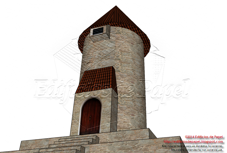 Main façade of the Medieval Tower paper model