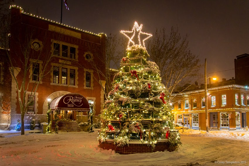 Portland, Maine USA December 2015. Photo by Corey Templeton. From last night, the lobster trap Christmas tree in front of the The Portland Regency Hotel & Spa. I had been waiting for a bit of snow to get this shot.