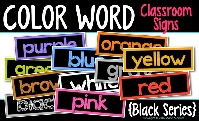 Color Word Classroom Signs Black Series