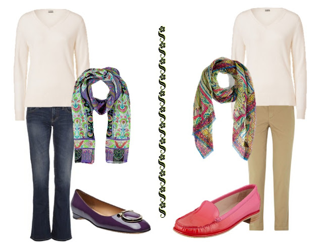 wearing a white v-neck sweater with jeans or khakis, a great scarf, and flat shoes