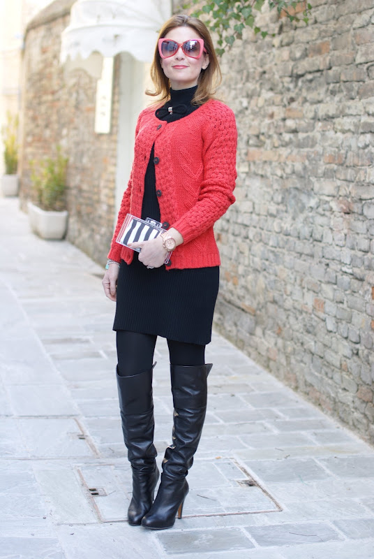 Fashion and Cookies, Zara perspex clutch, striped clutch, Tiffany bracelet