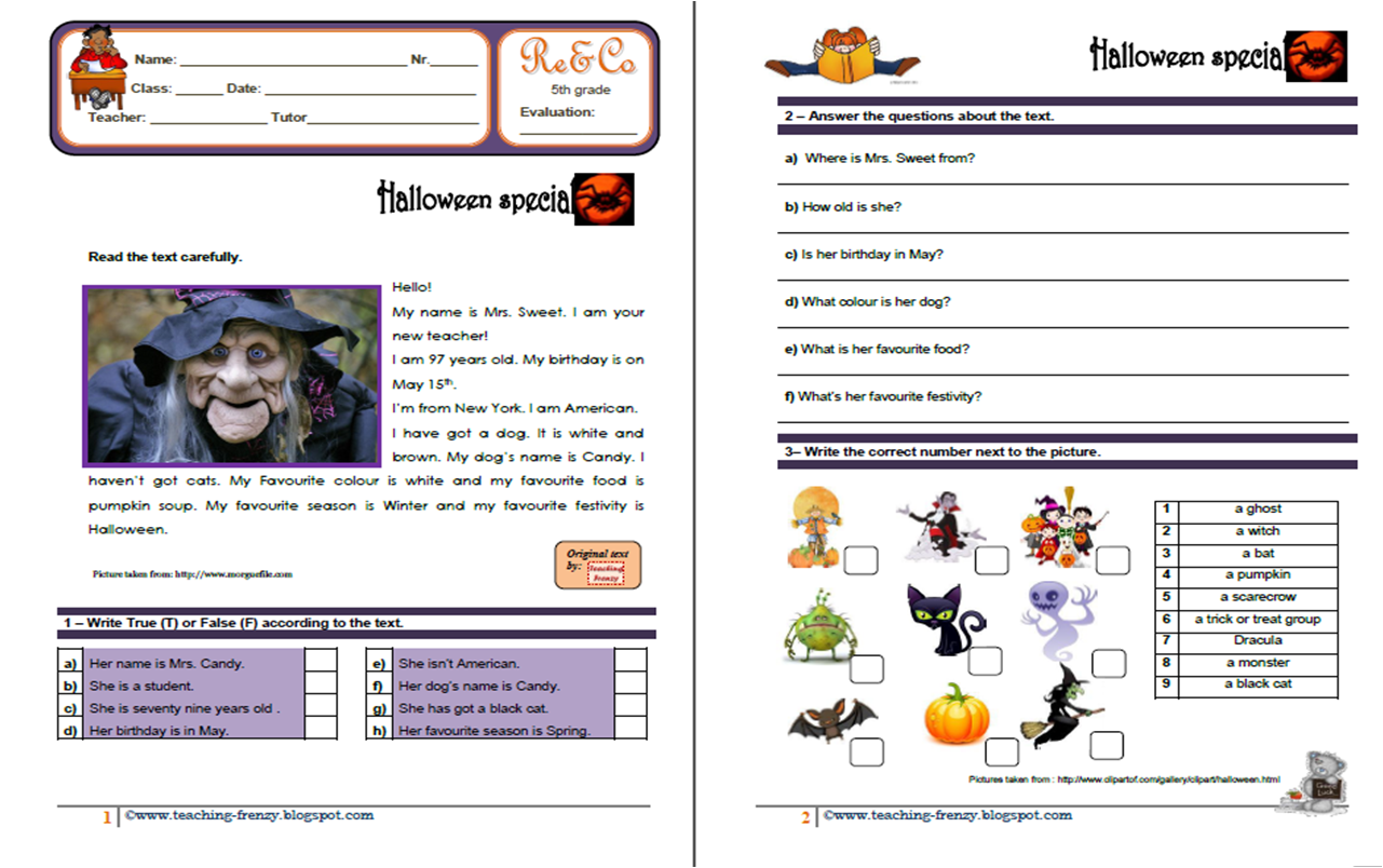 worksheet Reading Comprehension Worksheet 5th Grade reading worksheets for 5th graders abitlikethis teaching frenzy halloween comprehension ws grade