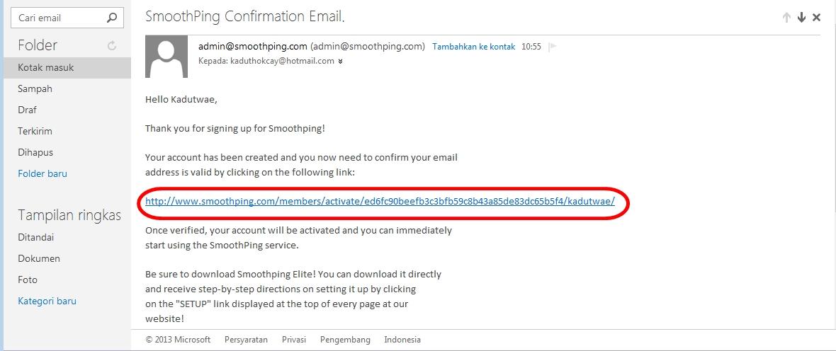 Klik link konfirmasi email tersebut dan akan keredirect ke site ...